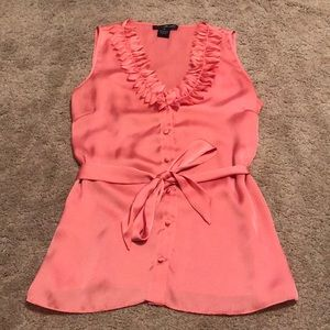 Willi Smith Pink Flower Petal Collared Blouse Tank